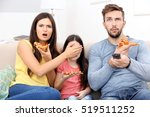 happy family eating pizza and... | Shutterstock . vector #519511252