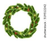 christmas tree beautiful wreath  | Shutterstock . vector #519512242