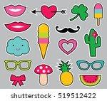 vector cartoon stickers set | Shutterstock .eps vector #519512422