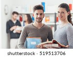 smiling schoolmates holding... | Shutterstock . vector #519513706