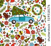 car and christmas tree. hat of... | Shutterstock .eps vector #519518176