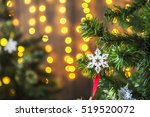 green christmas tree decorated... | Shutterstock . vector #519520072