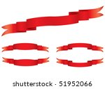set of 5 red ribbons | Shutterstock .eps vector #51952066