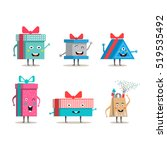 funny gift boxes characters... | Shutterstock .eps vector #519535492