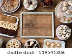 picture frame and cakes ... | Shutterstock . vector #519541306