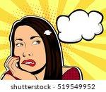 pop art lady thinks retro... | Shutterstock .eps vector #519549952