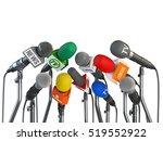 microphones prepared for press... | Shutterstock . vector #519552922