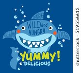 funny shark with typo. print... | Shutterstock .eps vector #519556612