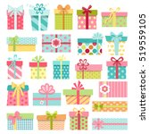set of cute colorful gift boxes ... | Shutterstock .eps vector #519559105