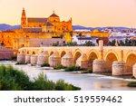 Cordoba, Spain. Roman Bridge and Mezquita (mosque-cathedral) on the Guadalquivir River.