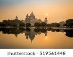 Beautiful Victoria Memorial architectural monument and museum at sunset. Kolkata, India.