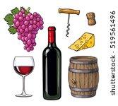 wine set of bottle  glass ... | Shutterstock .eps vector #519561496
