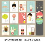 colorful cute monthly calendar... | Shutterstock .eps vector #519564286