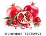 juicy pomegranate and its half... | Shutterstock . vector #519569926