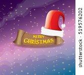 vector red santa hat on stars...   Shutterstock .eps vector #519576202