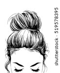 girl with cute bun hairstyles | Shutterstock .eps vector #519578395