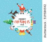 modern flat creative christmas... | Shutterstock .eps vector #519584542