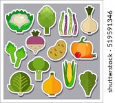 green vegetables icons set | Shutterstock .eps vector #519591346