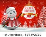 smiling snowman and santa... | Shutterstock .eps vector #519592192