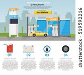 gas filling station vector flat ... | Shutterstock .eps vector #519592216