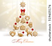 christmas tree. background with ... | Shutterstock .eps vector #519605176