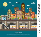 underground poster of cityscape ...   Shutterstock . vector #519613102