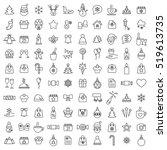 christmas xmas 100 new year winter celebration decoration symbol vector outline line black on white background icons set