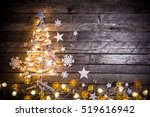 christmas decoration on wooden... | Shutterstock . vector #519616942