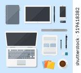 top view computer laptop vector ... | Shutterstock .eps vector #519618382