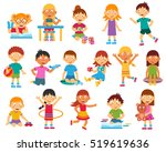 happy kids playing reading and... | Shutterstock . vector #519619636