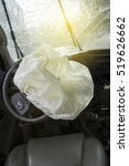 Small photo of Car of accident Make airbag explosion damaged at claim the insurance company. Working car repair inspection at damaged of accident. Claim the insurance company