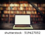 laptop with blank screen on... | Shutterstock . vector #519627052