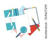 flat design notepad  paper... | Shutterstock .eps vector #519627295
