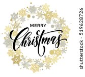 merry christmas lettering with... | Shutterstock .eps vector #519628726
