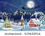 a house in a snowy christmas... | Shutterstock . vector #519633916