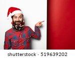 happy hipster man in santa hat... | Shutterstock . vector #519639202