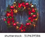 christmas wreath handmade on a... | Shutterstock . vector #519639586