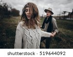 stylish hipster couple holding... | Shutterstock . vector #519644092