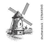 windmill. hand drawn vintage... | Shutterstock .eps vector #519644545