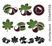 chestnut set. vector | Shutterstock .eps vector #519649528