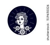 vector girl face logo. vector... | Shutterstock .eps vector #519650326