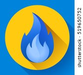 blue fire flame icon vector...