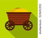 Vintage Wooden Cart Icon. Flat...