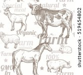 seamless pattern with livestock ... | Shutterstock .eps vector #519654802