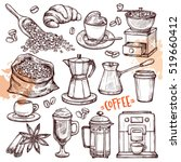 coffee hand drawn collection.... | Shutterstock .eps vector #519660412