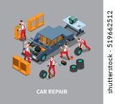 automobile repair shop with ... | Shutterstock .eps vector #519662512