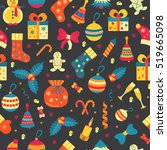 christmas seamless pattern with ... | Shutterstock .eps vector #519665098