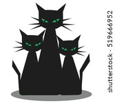 Three Black Cats With Green...