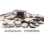 graduation cap on a pile of... | Shutterstock . vector #519685846