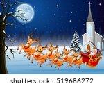 santa claus rides reindeer... | Shutterstock .eps vector #519686272